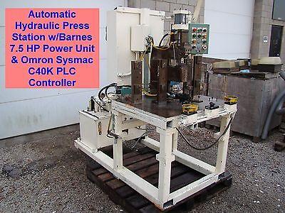 Hydraulic Press Station Barnes 7.5hp Power Unit Omron Plc Cylinder Punch Die