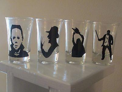 4 Slasher Shot Glasses Michael Myers Freddy Jason Leatherface Halloween