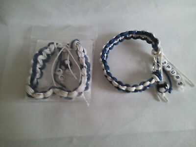 Tottenham Hotspur football bracelet made of waxed cotton in club colours & SPURS