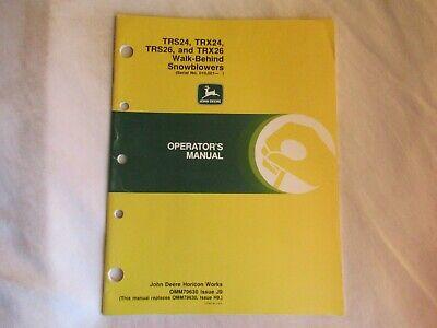 1989 John Deere Trs24 Trx24 Trs26 Walk Behind Snow Blower Operators Manual