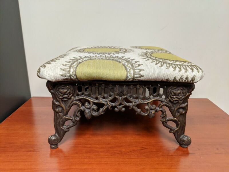 Vintage Cast Iron Metal Ornate Fancy Foot Stool Victorian Ottoman Rose & Scroll