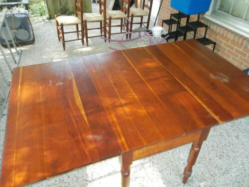REDUCED AGAIN!! Antique Farmhouse Cherry Plank Drop Leaf Gateleg Dining Table