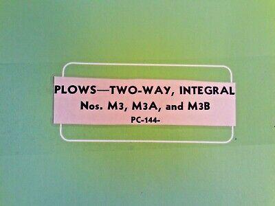 John Deere Parts Catalog No. 144 Plows Two-way Integral Nos.m3m3aand M3b