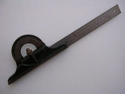 Vintage Starrett 490 Protractor With Stanley 12 Hardened Rule Bubble Level