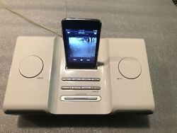 iHome Ih5 Alarm Clock Radio Apple Audio Dock System-Tested/Working W/iPod Touch