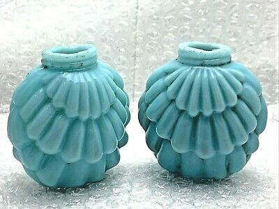 Antique early1890s Consolidated Glass Co. Blue Opaque Layered Shell Shaker Set