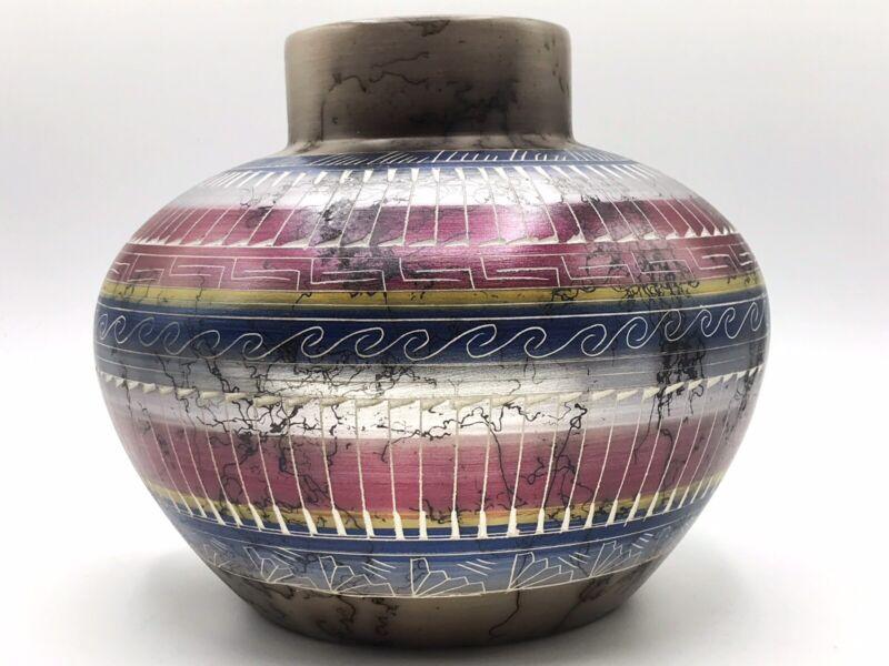 Native American Pottery Horse Hair Handmade Navajo Indian Tylene Yazzie Vase