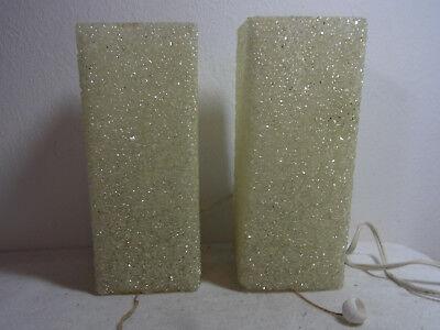 Paar Alte Wand Leuchten Granulat Lampen Zugschalter 60er Wall Lamps Sconces #<