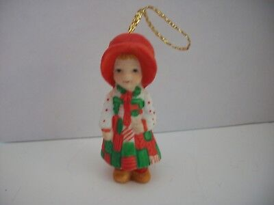 Holly Hobbie Christmas Ornament in a Red/Green Gingham dress~Paper label W.W.A.