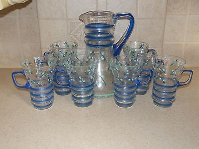 OUTSTANDING MCM CRACKLE GLASS HAND DECORATED ARTIST SIGNED BEVERAGE SET