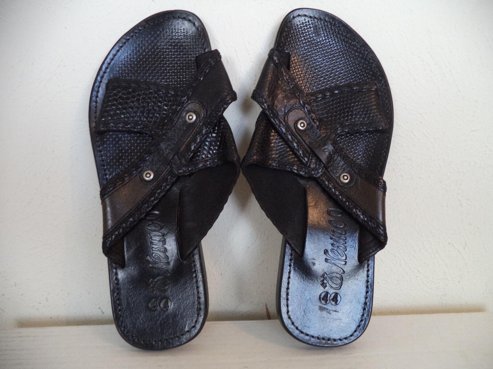 Men's Black Nesinco Handmade Leather Slippers Sandals. Size