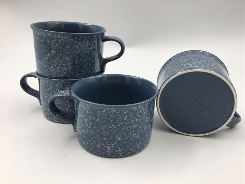 Mikasa Ultrastone Country Blue Coffee Mug Set Of 4