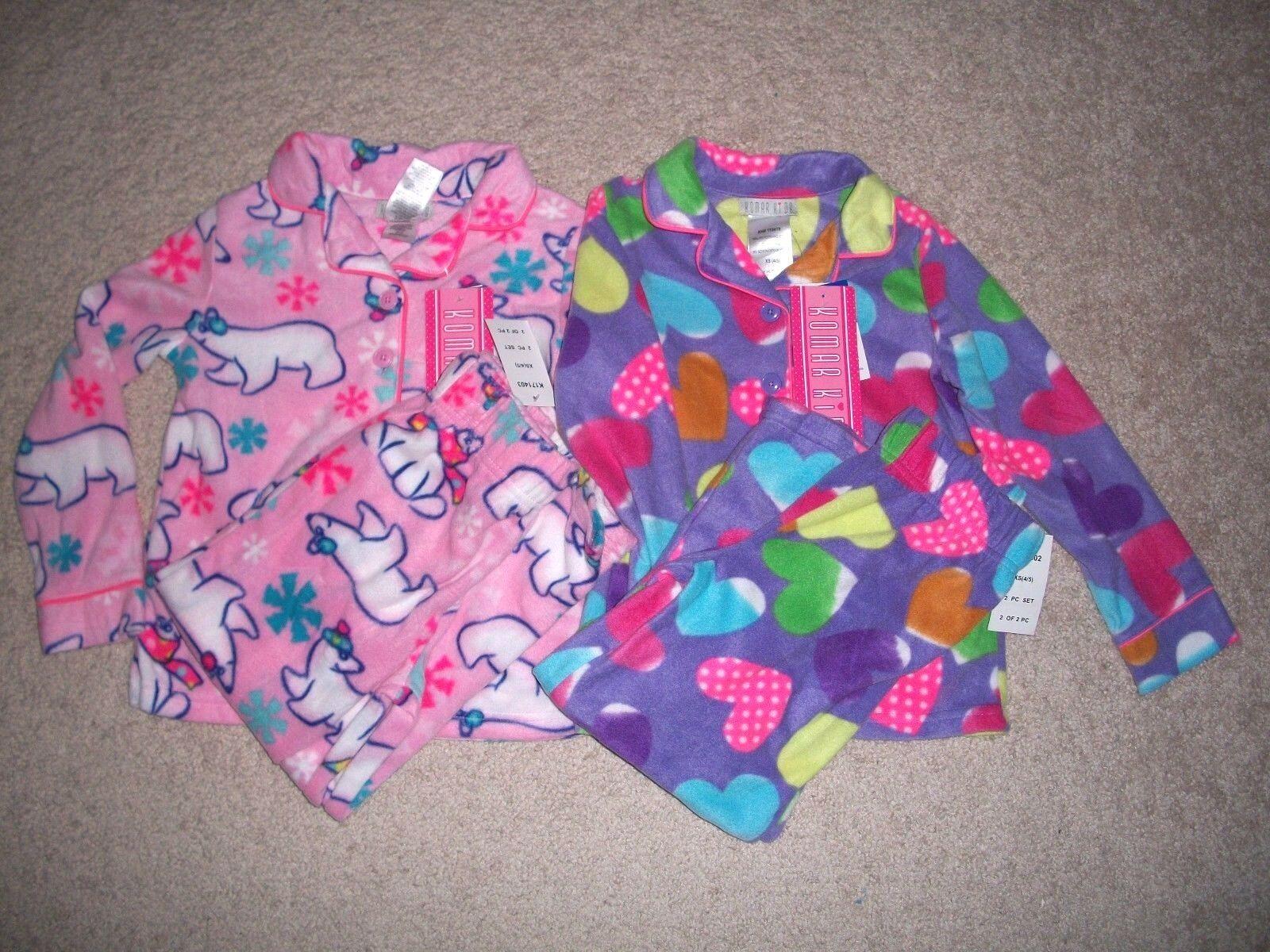 NWT Komar Kids Girls Sz XS  Fleece Pajama Set Flame Resistan