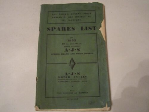 1952 SPARES LIST FOR 1952 350 CC AND 500 CC SINGLE CYLINDER A.J.S. MANUAL -BN-12