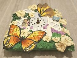 BUTTERFLY wall CLOCK ceramic flowers DAISIES electric clock 3D vintage