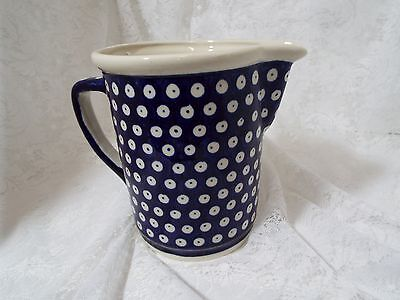 Polish Boleslawiec Beverage Pitcher Cobalt Blue Polka Dot 6""