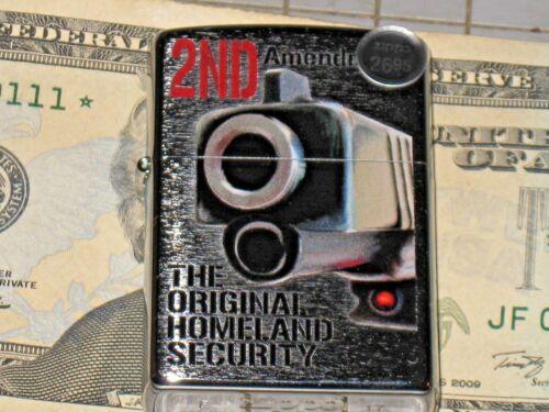 New ZIPPO USA Windproof Lighter 16885 2nd Amendment Original Homeland Security