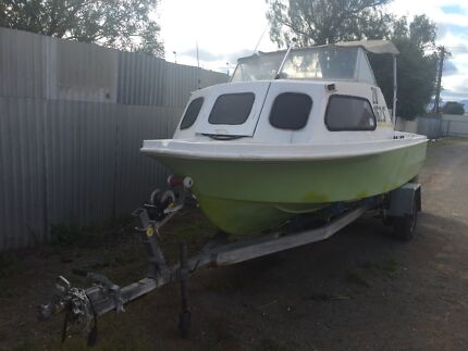 4.4 metre Half cabin fibreglass Boat, trailer and all safety equipment  Port Augusta 5700 Port Augusta City Preview