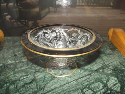 Mayonnaise condiment jelly compote Bowl Mckee Glass Rock Crystal EAPG Black gold