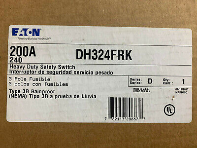 Dh324frk Cutler Hammer 200 Amp 240v 3 Pole Nema 3r Outdoor Disconnect Switch New