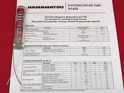 Hamamatsu R1450 Photomultiplier Tube With 110m Voltage Divider Already Installed