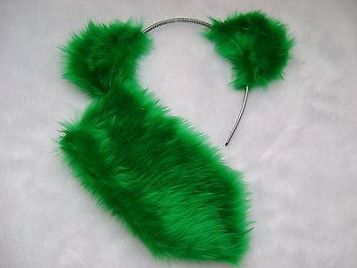 Green Care Bear Costume (Care Bear Good Luck Bear Green Ears & Stubby Tail Faux Fur Fancy Dress Set New )