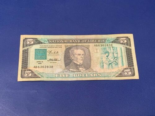 5 Dollars Liberia 1989 Circulated