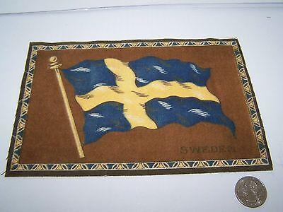 """c.1915 SWEDEN FLAG FLANNEL CIGARETTE PACK TOBACCO FELT ANTIQUE 8"""" x 5.5"""""""