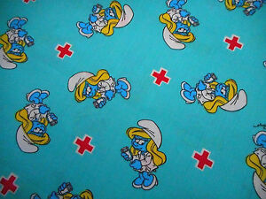 Childrens Fabric By The Yard Smurfette The Nurse Turquoise Cotton Smurf Bolt
