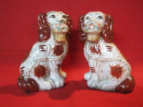 Modern Staffordshire Cavalier King Charles Spaniel dog figurines, Wally dogs