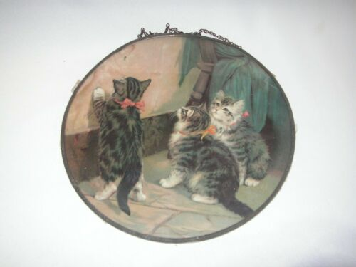 VICTORIAN ERA FLUE COVER, KITTENS CHASING BUG, CHIMNEY FIREPLACE DECORATION