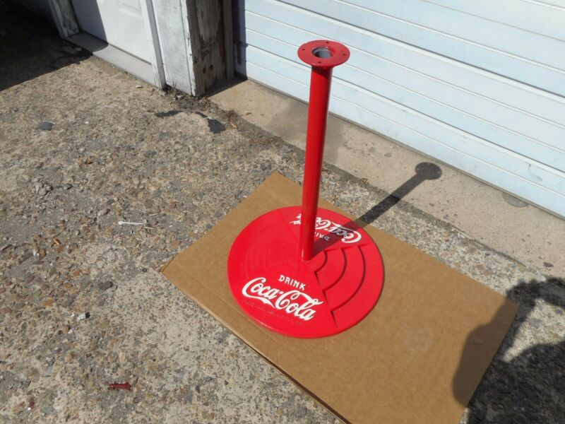 COCA COLA CAST IRON BASE SIGN POST RARE VINTAGE
