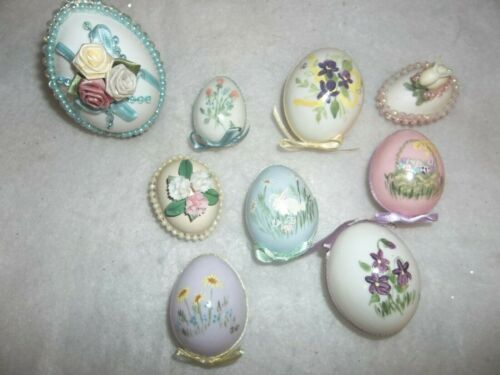 Nine Pc. Assortment of Hand-painted & Decorated Easter Eggs, Pre-owned.