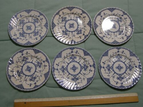 6 H Aynsley and Co. Copenhagen Pattern Ironstone Bread Plates Made in England
