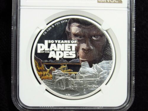 2018 Tuvalu Silver $1 PLANET OF APES NGC PF69UltraCameo 50th Anniversary
