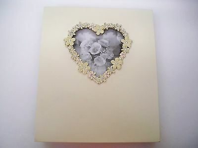 WEDDING PHOTO ALBUMS (2) WOODEN JEWELED HEART COVERS