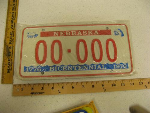 1976 76 NEBRASKA NE BICENTENNIAL LICENSE PLATE SAMPLE  #00-000 MINT NOS