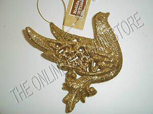 Christmas-Tree-Wreath-Decorative-Glitter-Sparkle-Ornaments-Gold-Dove-Bird