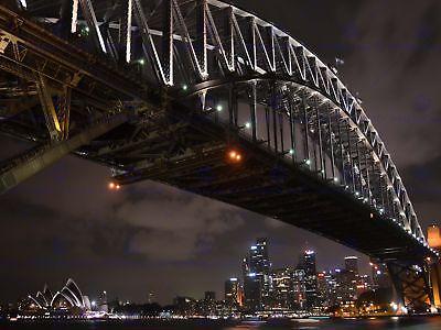 PHOTO CITYSCAPE SYDNEY HARBOUR BRIDGE NIGHT 12 X 16 INCH ART PRINT POSTER HP2485 (Sydney Harbour Bridge Poster)