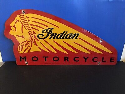 VINTAGE PORCELAIN INDIAN MOTORCYCLES GAS AND OIL SIGN
