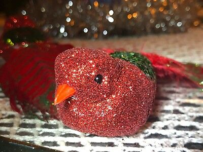 Robin Peacock Dove Christmas Ornaments Glitter Bead Feathers Embellish Beautiful - Dove Ornaments