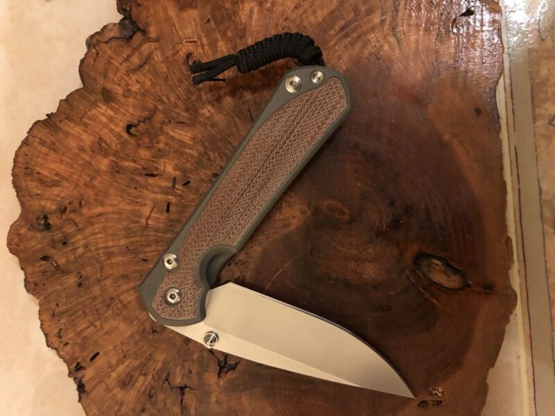 CHRIS REEVE LARGE SEBENZA 31 DROP POINT NATURAL CANVAS MICARTA INLAY RIGHT RH
