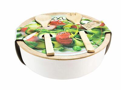 Salatschüssel mit Bambus Deckel und Besteck - Salat Schale Servier Schüssel groß Schale Schüssel