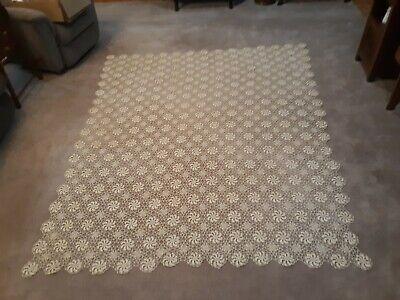 "VINTAGE CROCHETED TABLE CLOTH -  BEDSPREAD 95"" X 78"" (1)"