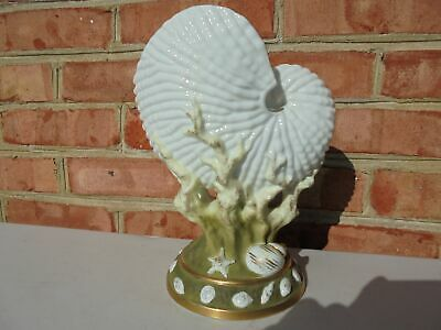 Antique Royal Worcester Style Porcelain Nautilus Shell Vase -