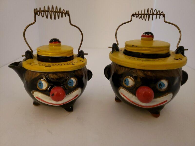 Vintage Thames Black Americana Creamer and Sugar Bowl Japan RARE