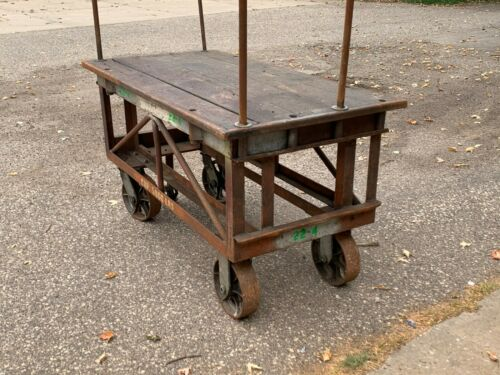 Antique Factory Cart Table Rolling Nutting Industrial Steampunk