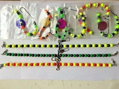 """3 Beaded wishbone Rig/Booms 12"""" long and 6 assorted colour end traces for plaice"""