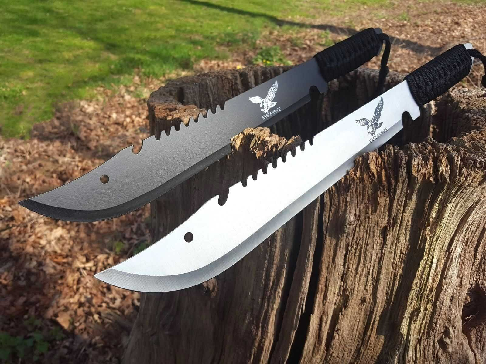 2 Stück Machete Messer Knife Bowie Buschmesser Coltello Hunting Macete Machette