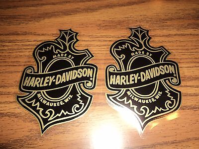 Lot of 2 HARLEY DAVIDSON motorcycle oak leaf inside window decal stickers biker